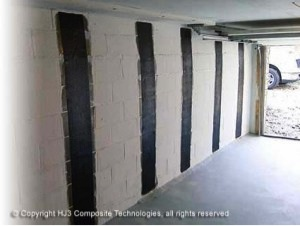 StrongHold's carbon fiber successfully strengthened the bowed wall.