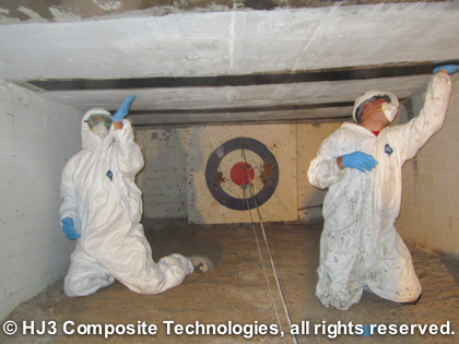 The StrongHold carbon fiber is applied to the crawl space ceiling