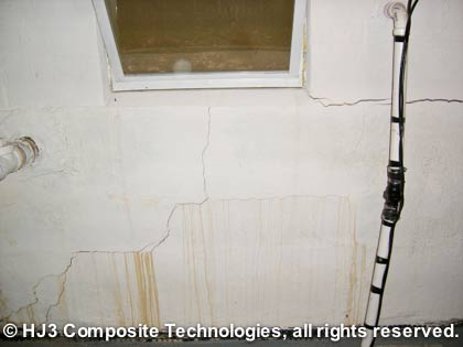 Leaking cracks like these are easily repaired with StrongHold's crack repair kits.