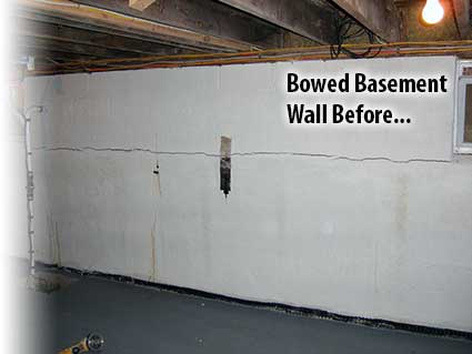 A horizontal crack often accompanies a bowed wall.