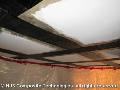 StrongHold's carbon fiber successfully repaired this cracked ceiling